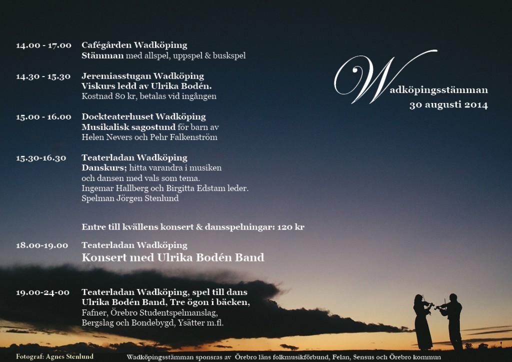 Program WadköpingsStämman2014 / Fotograf; Agnes Stenlund